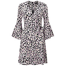 Buy Miss Selfridge Animal Print Flute Sleeve Wrap Dress, Multi Online at johnlewis.com