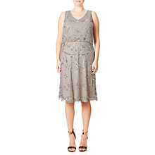 Buy Adrianna Papell Plus Size Beaded Blouson Cocktail Dress, Silver/Grey Online at johnlewis.com