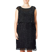 Buy Adrianna Papell Beaded Blouson Cocktail Dress, Black Online at johnlewis.com