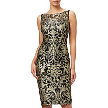 Buy Adrianna Papell Petite Metallic Lace Sheath Dress, Black/Gold Online at johnlewis.com