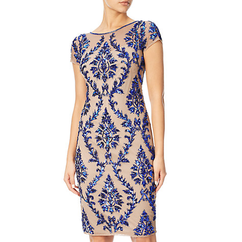 Buy Adrianna Papell Cap Sleeve Beaded Sheath Dress, Champagne/Royal Online at johnlewis.com
