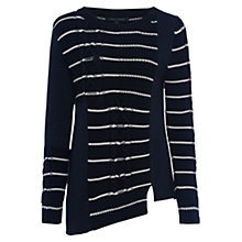Buy French Connection Cable Stripe Jumper, Utility Blue/Summer White Online at johnlewis.com