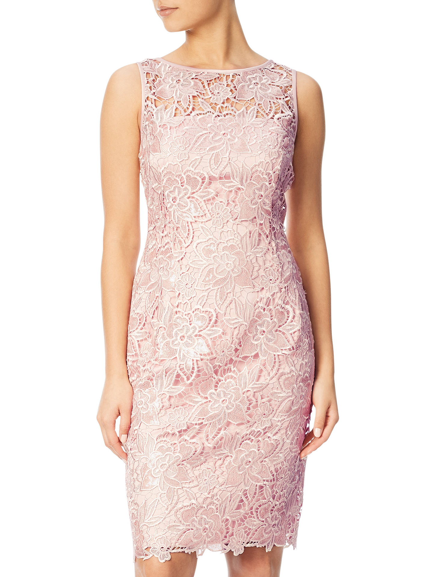 b8b91d44ad85 Buy Adrianna Papell Sequin Guipure Lace Sheath Dress, Blush, 8 Online at  johnlewis.