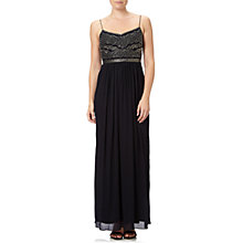 Buy Adrianna Papell Sleeveless Beaded Bodice Chiffon Gown, Black Online at johnlewis.com
