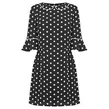 Buy Oasis Spot Fluted Sleeve Dress, Black/White Online at johnlewis.com