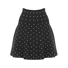 Buy Oasis Textured Spot Flippy Skirt, Multi Black Online at johnlewis.com