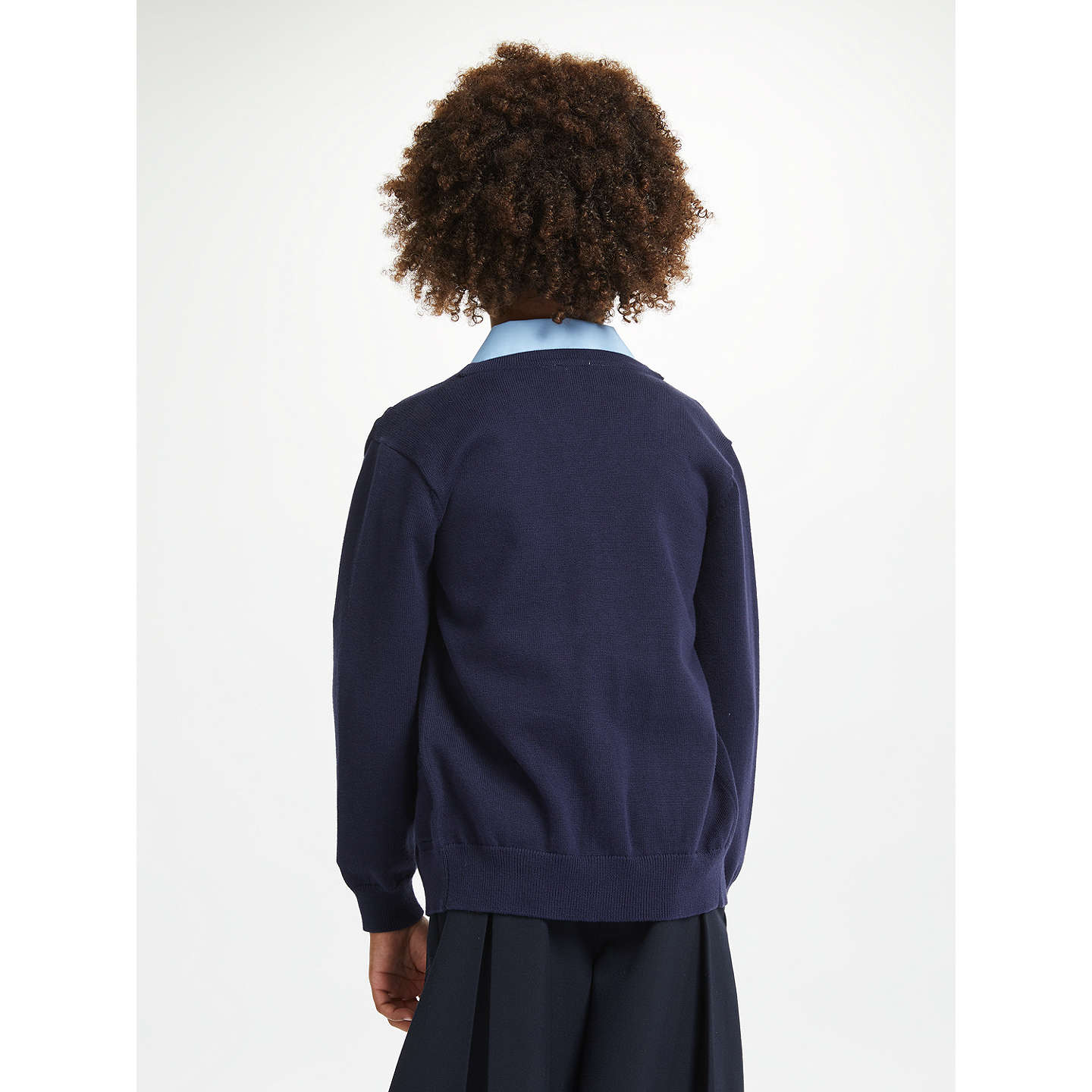 BuyJohn Lewis Cotton Rich V-Neck School Cardigan, Navy, 3-4 years Online at johnlewis.com