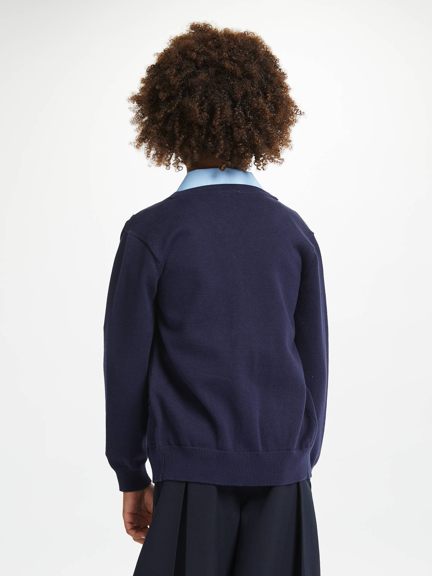 Buy John Lewis & Partners Cotton Rich V-Neck School Cardigan, Navy, 3-4 years Online at johnlewis.com