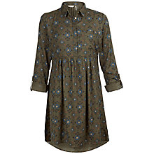 Buy Fat Face Lena Folk Geo Dress, Khaki Online at johnlewis.com