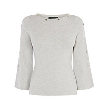 Buy Karen Millen Press Stud Detail Knit Jumper, Grey Online at johnlewis.com