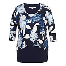 Buy Chesca Floral Print Layered Jersey Tunic Top, Navy Online at johnlewis.com