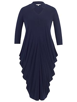 Chesca Notch Neck Drape Jersey Dress, Navy