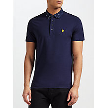 Buy Lyle & Scott Woven Print Collar Polo Shirt, Navy Online at johnlewis.com