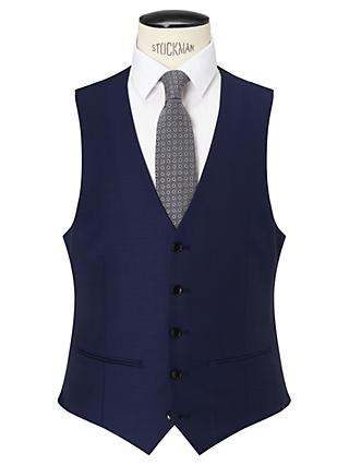 John Lewis & Partners Sharkskin Super 120s Wool Regular Fit Waistcoat, Blue