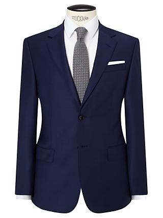 John Lewis & Partners Sharkskin Super 120s Wool Regular Fit Suit Jacket, Blue