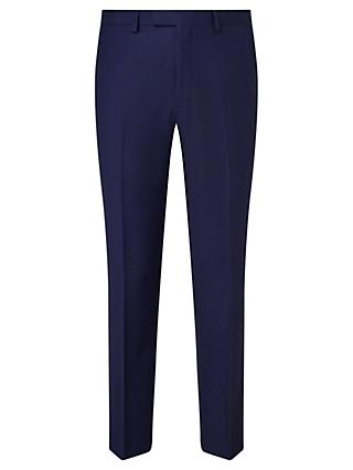 John Lewis & Partners Sharkskin Super 120s Wool Regular Fit Suit Trousers, Blue