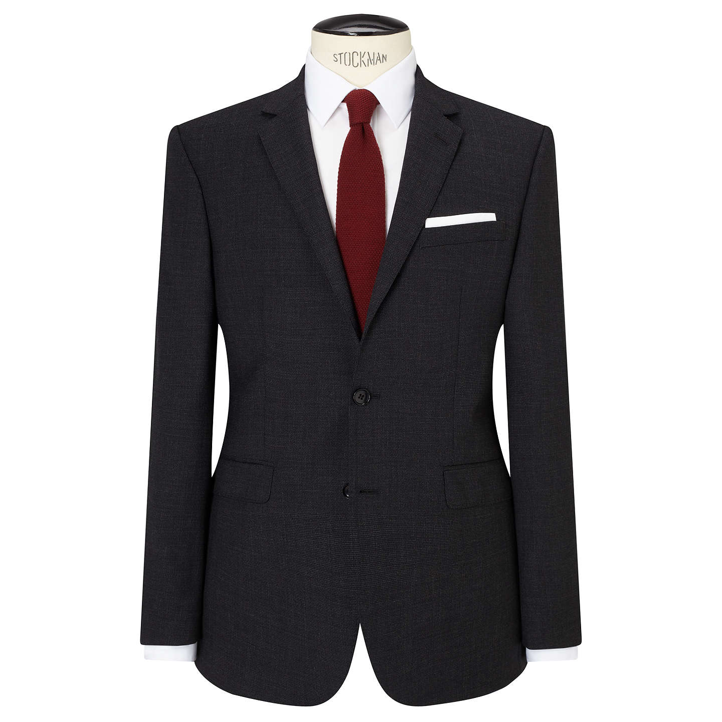 BuyJohn Lewis Textured Super 100s Wool Tailored Suit Jacket, Charcoal, 46R Online at johnlewis.com