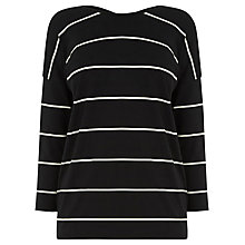Buy Warehouse Stripe Cross Back Detail Top, Black Online at johnlewis.com