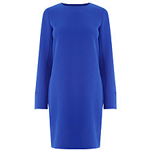 Buy Warehouse Long Sleeve Shift Dress, Bright Blue Online at johnlewis.com