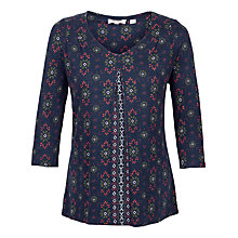 Buy Fat Face Poole Folk Geo Floral Top, Navy Online at johnlewis.com