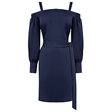 Buy Warehouse Strappy Bardot Dress, Navy Online at johnlewis.com