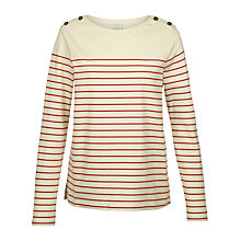 Buy Fat Face Issey Stripe Top, Ivory Online at johnlewis.com