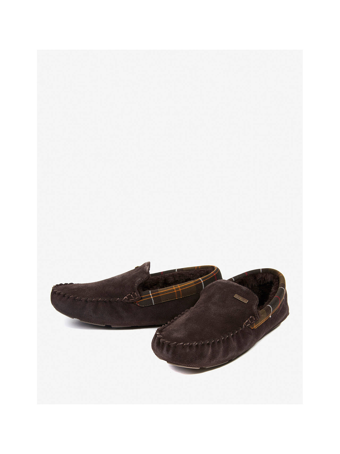 BuyBarbour Monty Suede Slippers, Chocolate, 7 Online at johnlewis.com