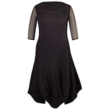 Buy Chesca Black Crush Pleat Crepe Drape Hem Dress Online at johnlewis.com