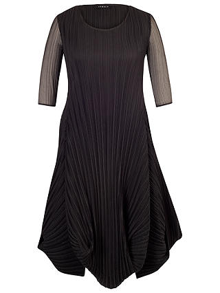 Buy Chesca Black Crush Pleat Crepe Drape Hem Dress, 12-14 Online at johnlewis.com