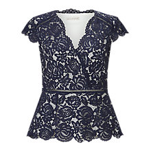 Buy Jacques Vert Lace Structured Top, Navy Online at johnlewis.com