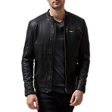 Buy Selected Homme New Tylor Leather Jacket, Black Online at johnlewis.com