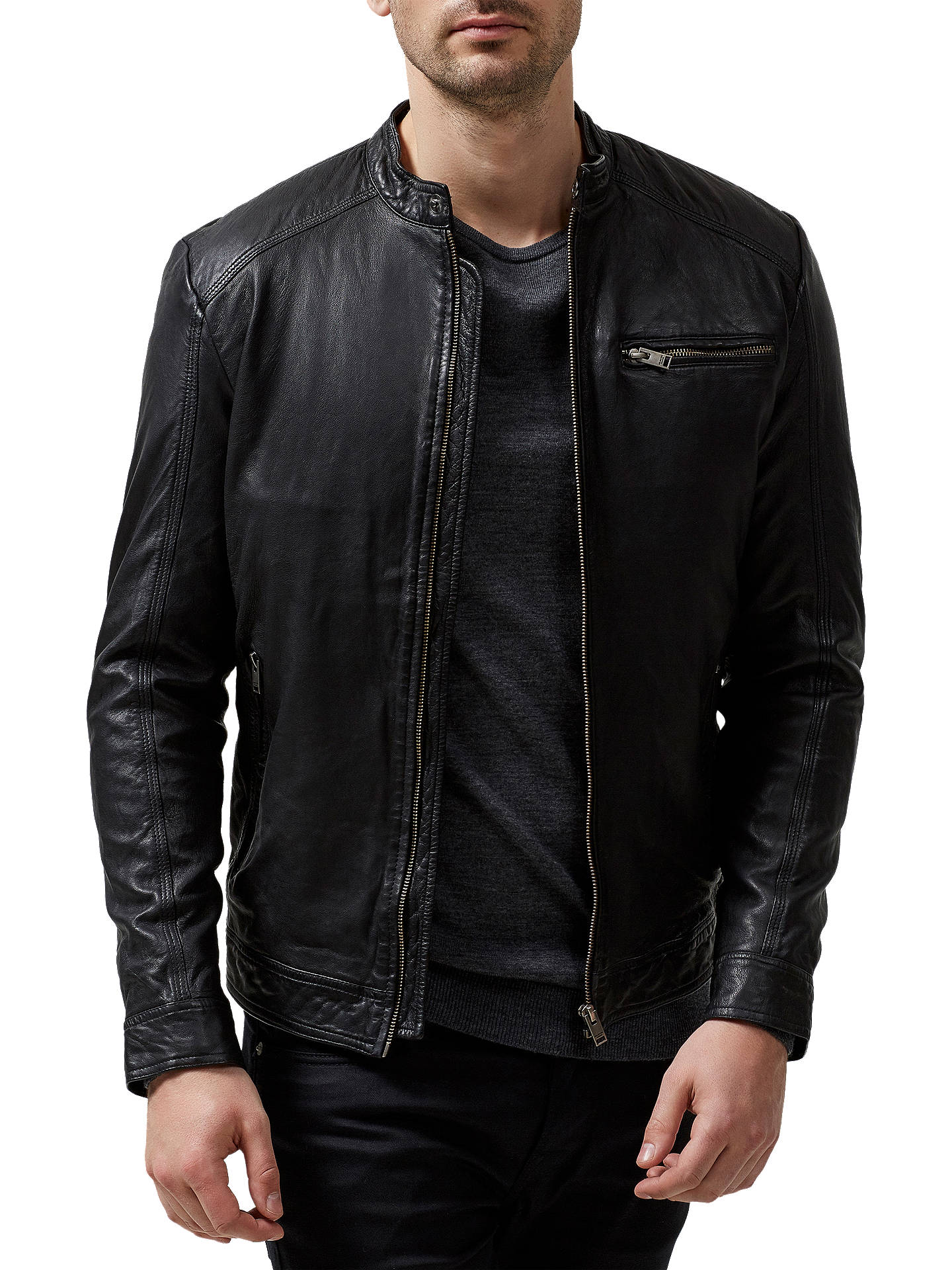 Selected Homme New Tylor Slim Fit Leather Jacket Black At John
