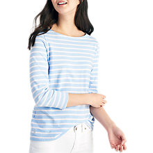 Buy Joules Harbour Luxe Stripe 3/4 Sleeve Jersey Top, Sky Blue/Silver Online at johnlewis.com