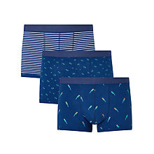 Buy John Lewis Parrot Palm Stripe Trunks, Pack of 3, Navy Online at johnlewis.com