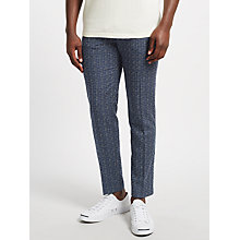 Buy Samsoe & Samsoe Laurent Wool-Silk Checked Trousers, Blue Cross Online at johnlewis.com