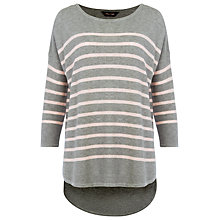 Buy Phase Eight Breton Stripe Megg Knitted Jumper, Grey / Pink Online at johnlewis.com