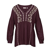 Buy Fat Face Stephanie Embroidered Blouse, Ganache Online at johnlewis.com