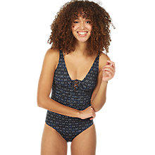 Buy Fat Face Geo Lace Up Swimsuit, Navy Online at johnlewis.com