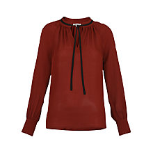Buy Whistles Rebecca Tie Side Blouse, Burgundy Online at johnlewis.com