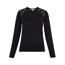 Buy Whistles Lace Insert Merino Wool Knitted Jumper, Navy Online at johnlewis.com