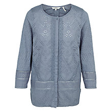 Buy Fat Face Penny Broderie Blouse, Sea Blue Online at johnlewis.com