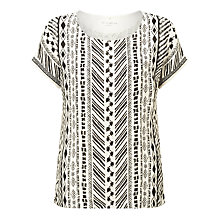 Buy Gerry Weber Printed Linen T-Shirt, Black/Ecru Online at johnlewis.com