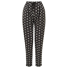 Buy Gerry Weber Drawstring Printed Trousers, Black/Ecru Online at johnlewis.com