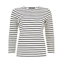 Buy Jaeger Classic Breton Striped Top, Ivory/Navy Online at johnlewis.com