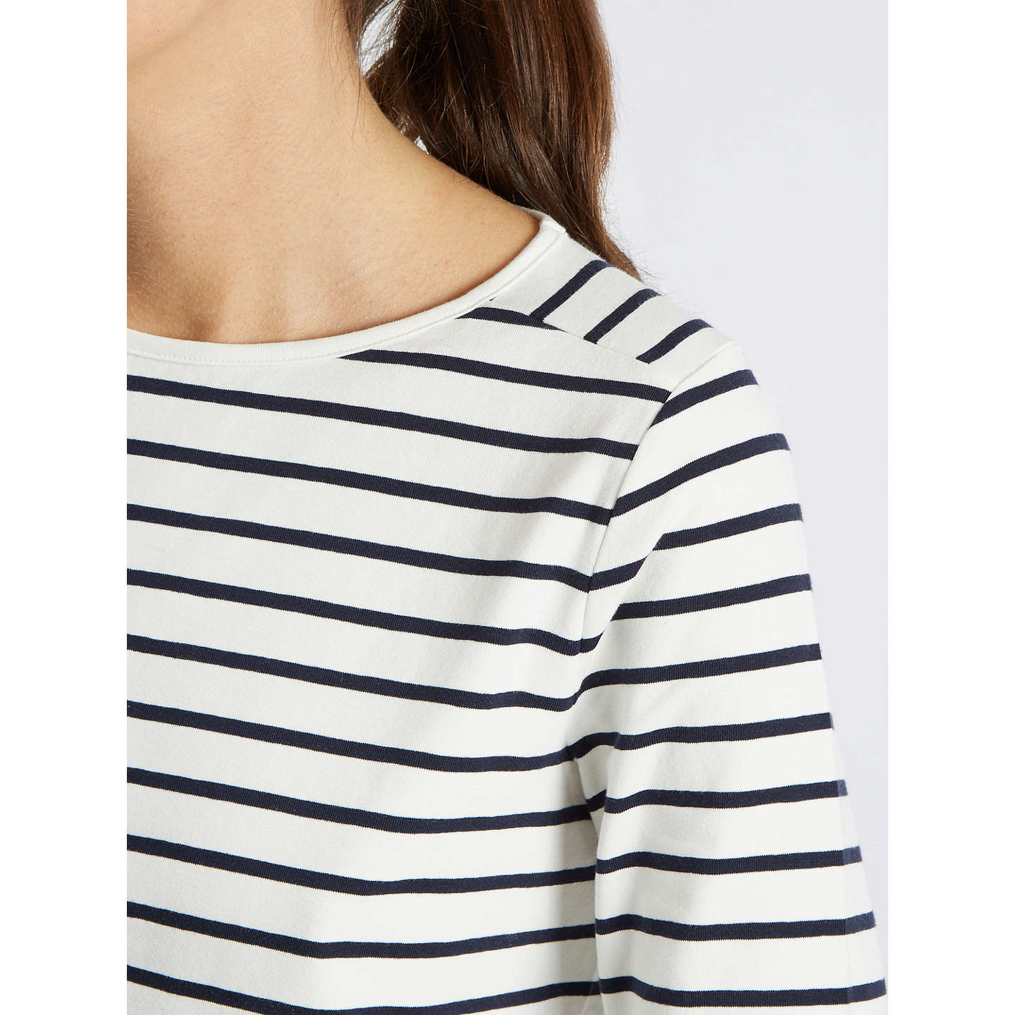 BuyJaeger Classic Breton Striped Top, Ivory/Navy, XS Online at johnlewis.com