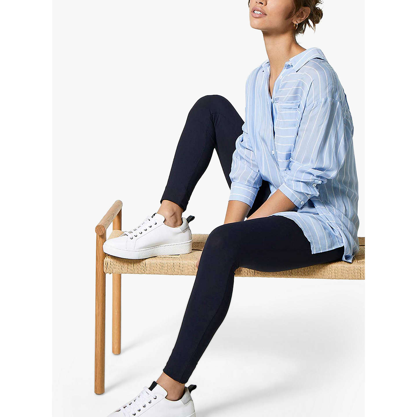 BuyMint Velvet Smoke Leggings, Blue, SS Online at johnlewis.com