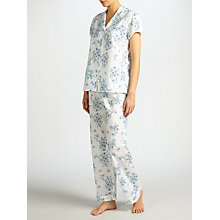 Buy John Lewis Dawn Floral Short Sleeve Pyjama Set, White/Blue Online at johnlewis.com