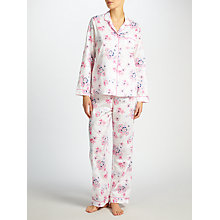 Buy John Lewis Sigorney Long Sleeve Pyjama Set, White/Pink Online at johnlewis.com