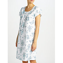 Buy John Lewis Dawn Floral Short Sleeve Night Dress, White/Blue Online at johnlewis.com