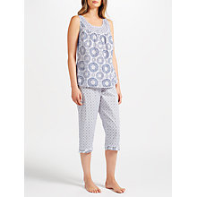 Buy John Lewis Lara Tilly Crop Trousers Pyjama Set, White/Navy Online at johnlewis.com